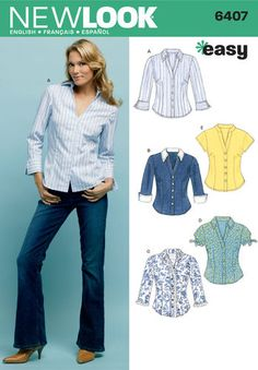 New Look Sewing Pattern 6407 Misses Tops, Size A Misses' Shirts sewing pattern. New Look pattern part of New Look Autumn 2004 Collection. Pattern for 5 looks. For sizes A Blouse Patterns, Clothing Patterns, Sewing Patterns, New Look Patterns, Simplicity Patterns, Sewing Clothes, Diy Clothes, Diy Mode, Nouveau Look