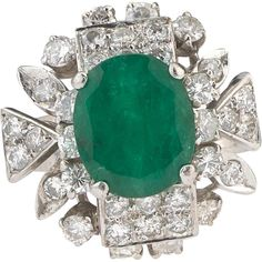 A Vintage truly breathtaking 2.3 carat Emerald 1 carat Diamond dress from vespers-smashing-things on Ruby Lane