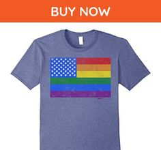 Mens Gay Pride - Rainbow Flag - LGBT T Shirts Medium Heather Blue - Cities countries flags shirts (*Amazon Partner-Link)