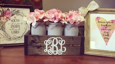 A personal favorite from my Etsy shop https://www.etsy.com/listing/529866547/mason-jar-box-with-monogram-and-flowers
