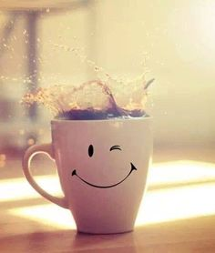 Love waking up to the aroma of coffee brewing. ❤.  I NEED this happy coffee cup.