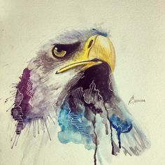 The colors fade nicely with the eagle head -Annie Watercolor Paintings Nature, Wildlife Paintings, Watercolor Bird, Animal Paintings, Animal Drawings, Eagle Artwork, Bird Artwork, Artwork Prints, Eagle Drawing