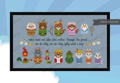 Cross Stitch pattern based on the Disney animated Robin Hood characters. Oo de lally!