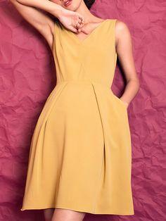 #AdoreWe #OOTD EVEN THOUGH Yellow Sleeveless Folds Plain Mini Dress - AdoreWe.com