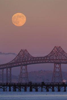 Moonrise at the  Richmond–San Rafael Bridge  San Francisco Bay, California