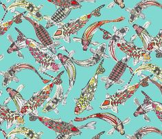 lucky koi fabric by scrummy on Spoonflower - custom fabric