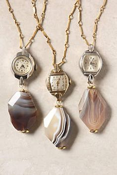 vintage watches reworked as pendant necklaces