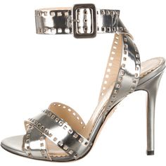 Pre-owned Charlotte Olympia Take 85 Film Strip Sandals ($245) ❤ liked on Polyvore featuring shoes, sandals, silver, patent shoes, ankle wrap sandals, strappy sandals, ankle tie shoes and ankle wrap shoes