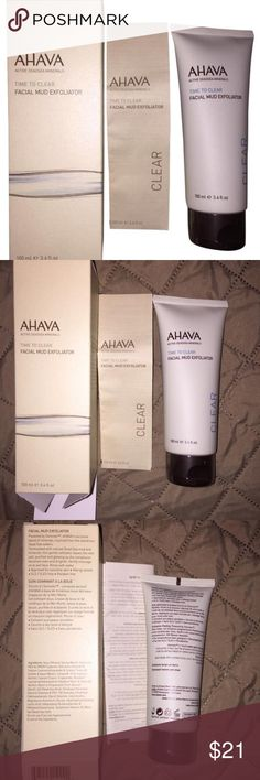 AHAVA Facial Mud Exfoliator 3.4 fl oz NEW sealed A unique blend of purifying Dead Sea Mud, minerals & natural extracts, this mask deeply cleans & detoxifies pores for a fresh, even complexion.  Absorbs excess oils as it smoothes & hydrates for a radiant complexion. Horsetail extract helps to soothe skin with its antiseptic & anti-inflammatory properties.  Jojoba oil helps to nourish & moisturize skin.  Apply a thick layer evenly to clean skin avoiding the eye and lip area. Leave on for 2…