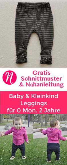 Freebook - Baby- und Kleinkind-Leggings für 0 Monate - 2 Jahre. Gratis Schnitt & Anleitung. Nähtalente - Magazin für kostenlose Schnittmuster - Free baby and toddler leggings pattern for 0 month - 2 years. Free PDF sewing pattern and Tutorial.