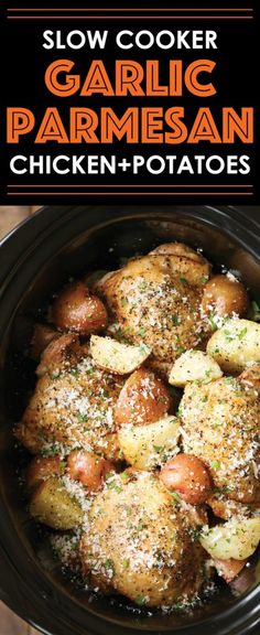 Slow Cooker Garlic Parmesan Chicken and Potatoes Crisp-tender chicken cooked low and slow with baby red potatoes for a full meal! So easy and effortless! - Slow Cooker Garlic Parmesan Chicken and Potatoes by Damn Delicious Crockpot Dishes, Crock Pot Slow Cooker, Crock Pot Cooking, Slow Cooker Recipes, Cooking Recipes, Healthy Recipes, Potatoes Crockpot, Crock Pots, Easy Recipes