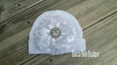 Newborn Baby Hospital Hat White Newborn Hat by BiancaBellaBoutique