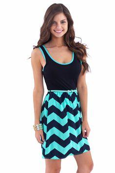 Double Down Chevron Dress-Spearmint - Dresses