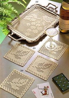 Filet Crochet tray mat and coasters - Grapes and Grape Leaves. Filet Crochet, Crochet Doily Patterns, Crochet Chart, Crochet Squares, Thread Crochet, Crochet Designs, Crochet Doilies, Knit Crochet, Granny Squares