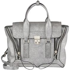 Pre-owned 3.1 Phillip Lim New Metallic Cracked-leather Medium Pashli... ($750) ❤ liked on Polyvore featuring bags, handbags, silver, silver satchel handbag, silver handbag, pre owned handbags, white satchel handbags e zipper purse