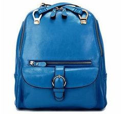 blue candy backpack soft genuine leather backpack bags by starbag, $56.93
