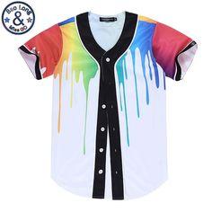 3D T Shirt Summer Hip Hop Shirts Baseball Couple Print Colorful Paint Short Sleeve Tee For Women Men