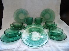 Jeannette Glass DORIC and PANSY TEAL Children's Set 14