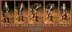 Sam Heughan ... How to sit in a kilt!