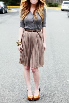 Top, skirt and belt. with flat shoes instead of heels