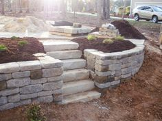 retaining wall for sloped yard - Google Search (For the pool)