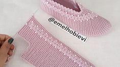Crochet Slipper Pattern, Knitted Slippers, Crochet Slippers, Knit Shoes, Sock Shoes, Knitted Baby Clothes, Needlepoint Designs, Easy Knitting Patterns, Knitting Videos