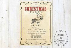 Rustic Reindeer Holiday Party Invite Vintage by themilkandcreamco Rustic Reindeer Holiday Party Invite, Vintage Reindeer Birds Christmas Party Invite, Printable Invite, Reindeer Holiday Invite