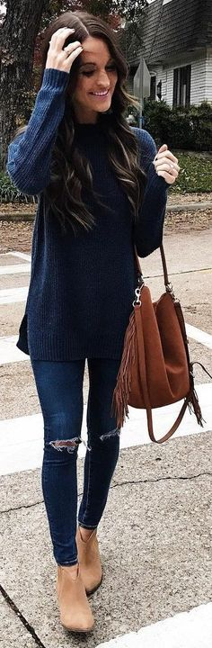 #winter #fashion Navy Knit + Ripped Skinny Jeans + Camel Booties
