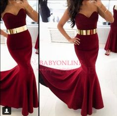 2014 New Fashion Women Special Occasion Dresses Burgundy Satin Long Mermaid Prom Dresses With Gold Belt Evening Gowns BO5198 $159.00