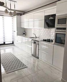 The Best 26 All White Kitchen Design Ideas modern all white kitchen with metro tiles Kitchen Room Design, Kitchen Cabinet Design, Modern Kitchen Design, Home Decor Kitchen, Interior Design Kitchen, Home Kitchens, Kitchen Ideas, Dream Kitchens, Images Of Kitchens
