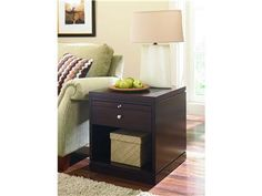 Shop for Hammary Rectangular Drawer End Table, 188-915, and other Living Room Tables at Kettle River Furniture and Bedding in Edwardsville, IL. One pull out shelf, One drawer, One fixed shelf on bottom: W20 D23.25 H11.25.