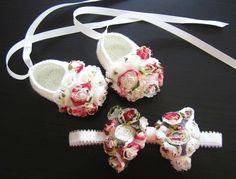 Chiffon Flowery Crochet Baby Booties & headband Set by MyMayaMade