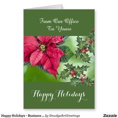Corporate from all of us happy holiday wishes card support happy holidays business corporate poinsettia greeting card colourmoves