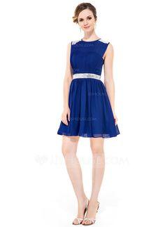 18555bceaa6a A-Line Princess Scoop Neck Short Mini Chiffon Homecoming Dress With Ruffle  Beading