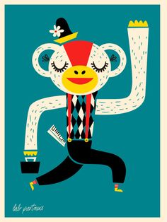 DESSINER DES OBJETS, ANIMAUX, PLANTES OU AUTRES QUI FONT DES CHOSES TOUT À FAIT INUSITÉS POUR EUX.  LET'S HAVE JUST GOOD PLAIN FUN. Business Monkey by Lab Partners