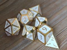 dice-dnd dice set-Polyhedral Dice Set-Shiny Gold with White , Dice-dungeons and dragons dice-dnd dice-metal dice-d&d Tiefling Paladin, D20 Dice, Dungeons And Dragons Dice, Dragon Dies, Dragon Rpg, Dado, Decir No, Geek Stuff, Goblin