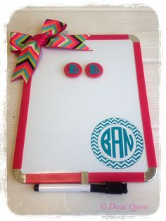 Personalized Magnetic Dry Erase Board by TheDecalQueen on Etsy, $14.00