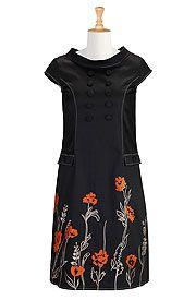 Mod style floral shift dress