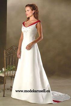Brautkleid Hochzeitskleid Farbig Weiss Rot Dunkelrot Weinrot Burgundy  www.modekarusell.eu