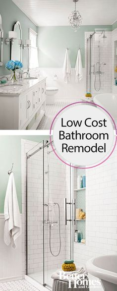 You won't believe the before and after photos of this once small bathroom. What started as a bath with an awkward layout has now been remodeled to be a beautiful master retreat, plus all the renovations were done on a tight budget.
