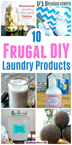 10 Frugal DIY Laundry Products- Stop paying for commercial, chemical-laden laundry products, and make your own! These DIY laundry products are inexpensive and easy to make, and you know exactly what's in them! | #diy #frugalLiving #homemade #laundry #laundryProducts #allNatural #waysToSaveMoney #moneySaving #moneySavingTips #savemoney #frugal