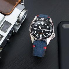 Thursday morning - #MiLTAT navy blue Nubuck leather strap on Seiko #SKX013  #strapcode