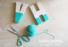 Yarn dipped monogram letter, an adorable #DIY idea! #Custom #SignatureColor #WeddingIdeas