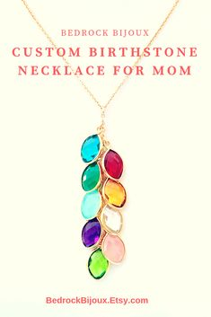 Each stone on this beautiful cascading birthstone necklace represents someone special in the recipient's life. This makes a perfect gift for your mom or grandmother for Christmas, Mother's Day, or any special occasion. Cute Jewelry, Jewelry Crafts, Beaded Jewelry, Unique Jewelry, Handmade Jewelry, Jewlery, Jewelry Ideas, Family Tree Necklace, Birthstone Necklace