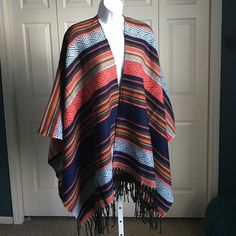▪️NEW▪️[HP] MULTICOLORED FRINGE SHAWL Gorgeous soft colorful shawl. Colors from blue to coral and everything in between.  Generous sizing. 100% acrylic. Pair this with riding boots, moccasins or whatever you're comfortable in.  Stay warm and cozy in this Fabulous blanket shawl. ⚫️NO TRADE. NO PAYPAL⚫️ (2) HP Sweaters Shrugs & Ponchos
