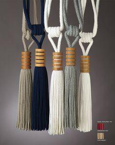 In the Groove Tassel Tieback by Perennials Macrame Design, Macrame Art, Diy Pompon, Perennials Fabric, How To Make Tassels, Diy Tassel, Macrame Plant Hangers, Curtain Tie Backs, Custom Rugs