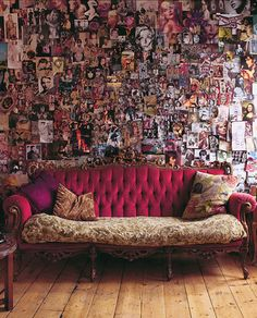I think if I'd lived in my sophomore dorm room long enough m wall might have looked this cool. (But I still wouldn't have and that awesome couch)