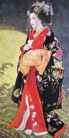 "Japanesepainting : BLOG ( Masako Kurokawa) description says ""Japanese style rock paint and foil - ""Takara ship"" Kyoto Shimabara long-sleeved kimono Tayuu, by masakuro1231"" - the style and painting technique is very different, unique."