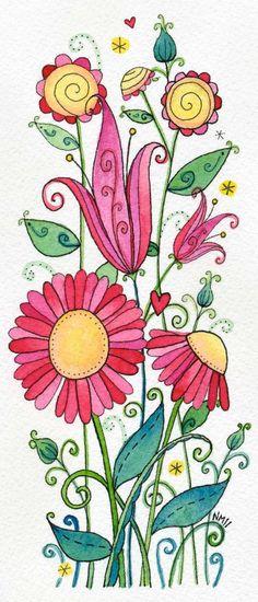 Sweet Strawberries Moon Cookie Gallery Print by mooncookiegallery. , via Etsy. Doodle Drawings, Doodle Art, Watercolor Flowers, Watercolor Paintings, Watercolor Sketch, Watercolor Portraits, Watercolor Landscape, Abstract Paintings, Wal Art