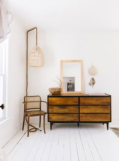 wood dresser and hanging rope lamp with woven lampshade. / lisa przystup's upstate home Rope Lamp, Beach House Decor, Home Decor, New York Homes, Wood Dresser, Boho Home, Interior Decorating, Interior Design, West Elm
